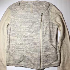 Ann Taylor Cream Marled Loft Zip Terry MotoJacket